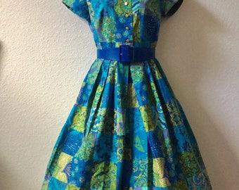 1950s dress, blue 50s dress, medium vintage dress, shirtwaist dress, Mad Men dress, pin up dress, full skirt dress, blue and green dress