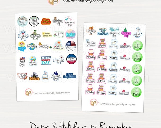 Planner Stickers - Dates & Holidays to Remember -Perfect for all planners!