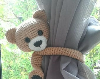 Bear curtain tie back, cotton yarn crochet bear, amigurumi.