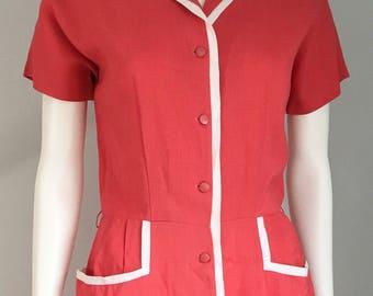 Stylish 1940's Coral Dress