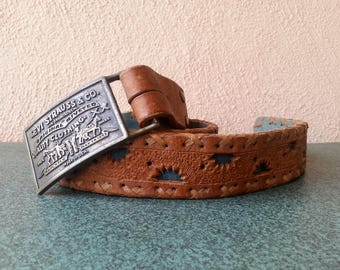 Tooled Leather belt with Levi's belt buckle vintage 70s 80s