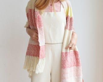 Fringe Luxury blanket shawl, Anniversary gift for woman, Striped merino wool scarf pashmina wrap