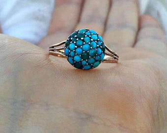 Antique Victorian 9ct Gold Turquoise & Diamond Ring