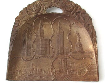 Antique New York City Brass Dust Pan, Roses, Statue of Liberty, Woolworth Building, Flatiron Building, Grand Central Station, NYC Skyline