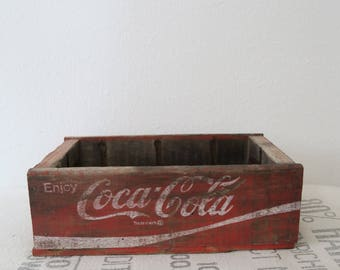 Vintage Coca Cola Red Six Coke Bottle Wooden Crate Carrier