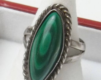 Vintage Sterling Silver Bezel Set Malachite Rope Design Fine Jewelry 1970's Ring Gift For Her Best Deal