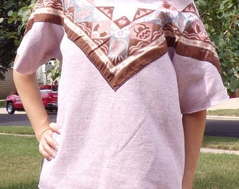 1980's 80's SLOUCH PINK SWEATSHIRT short-sleeved S M L