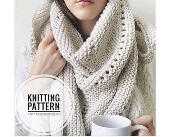 Knitting Pattern | Shawl Scarf Womens Fashion Scarf Instant Download PDF Pattern / Easy Beginner Knitting Scarf Pattern