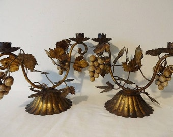 Old Gold & Black Tone Tole Candle Holders