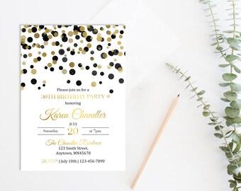 Black Gold Invite Etsy - 21st birthday invitations gold coast