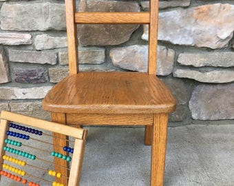 Vintage Oak Toddler Chair / Small Chair Plant Stand / Retro Child's Chair / School Chair