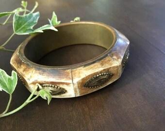 Vintage Brass and Bone Bangle Bracelet Tribal Jewelry Marked India 70's Bohemian Fashion
