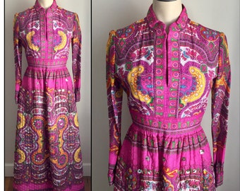 Vintage 1970s Misses' Long Sleeve Fuchsia Quilted Boho Dress India XS 0 2