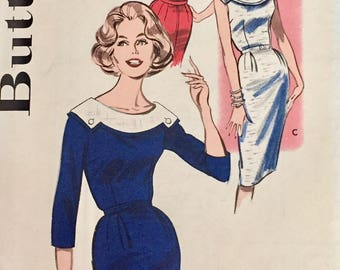 "Vintage 1950s Butterick Misses' Wiggle Dress Pattern 9328 Size 14 (34"" Bust)"