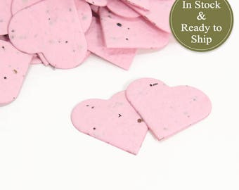 Soft Pink Plantable Seed Paper Confetti Hearts - READY-TO-SHIP - Eco Friendly Wedding Favors, Bridal Shower Favors & Baby Shower Favors