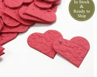 Poppy Red Plantable Seed Paper Confetti Hearts - READY-TO-SHIP - Valentines Day, Wedding Favors, Bridal Shower Favors, Baby Shower Favors