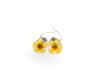 Gardener Gift, Nature Lover, pressed flower, woodland earrings, Botanical jewelry, nature made earrings, Real Buttercup earrings