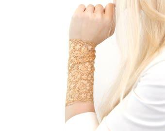 Lace Wrist Cuff Bracelet Arm Band Gold Bracelet Wrist Tattoo Cover Up, Boho Arm Cuffs Scar Cover Boho Cuff Tan Lace Bracelet Yellow Bracelet