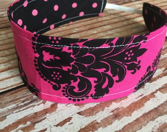Reversible Fabric Headband - Children Toddler Girls - Hot Pink and Black Damask - Polka Dot - READY TO SHIP