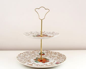 2 tier cake stand. Old Foley James Kent. Tea party cake stand. Chintz cake stand