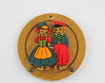 Vintage Wooden Wall Hook of Dutch Boy and Girl in Traditional Dress - Key Hook Wall Hanging