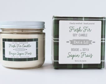 fresh fir scented soy candle in glass jar and green plaid gift box
