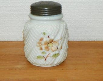 Antique Northwood Apple Blossom SUGAR SHAKER MUFINEER Cosmos Consolidated Opaline Daisy glass