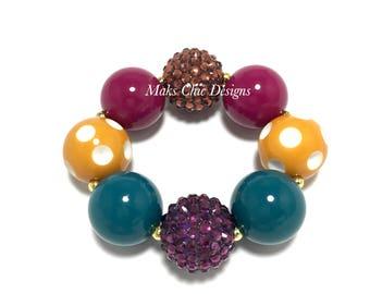 Toddler or Girls Fall Chunky Bracelet - Plum, Teal Blue, Mustard Yellow, White, Berry, Brown Chunky Bracelet - Girls Thanksgiving Bracelet
