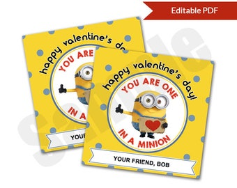 One In A Minion Valentineu0027s Day Card Tag Editable PDF Printable For  Classroom Exchange