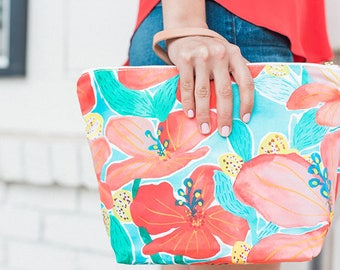Travel Zipper Pouch - Hibiscus (Large or Small)