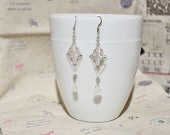 Cross Freshwater Pearls Moonstone Crystal Earrings,