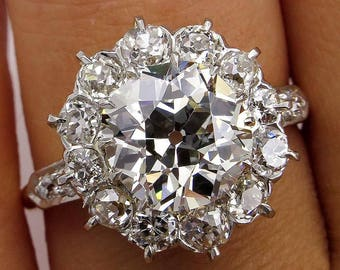 Victorian GIA 3.22ct Old Mine Cushion Diamond Antique Vintage Cluster Wedding Engagement 18k Gold Platinum Ring