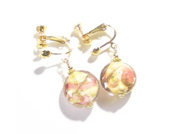 Murano Glass Pink Peach Clip-On Dangle Earrings, Venetian Italian Jewelry, Gift For Mom, Gold Filled Leverback Earrings, White Pink Earrings