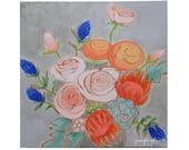 Abstract modern flower painting floral wall art - A Bouquet for Kaitlin