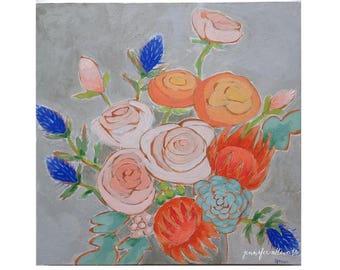 Flower Bouquet painting bright pretty modern wall art - A Bouquet for Kaitlin