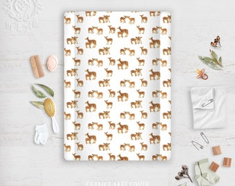 Change Mat Cover Bambi Fawns Woodland Nursery, Caramel Fawn Deer Print Linen Cotton. Fabric by Thistle and Fox. Ships in 4-5 wks