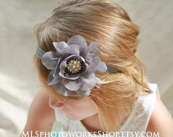 Stormy Gray Baby Girl Flower Headband - Dark Graphite Grey Chiffon Hair Bow for Babies, Toddlers and Little Girls