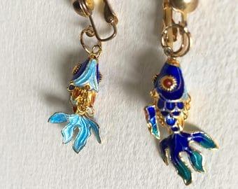 Vintage metal blue enamel  fish earrings 80s dandling fish turquoise