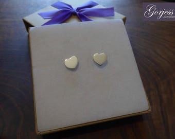 Two Silver Heart Earrings - Heart Studs - Handmade Love Earrings - Cute Silver Earrings