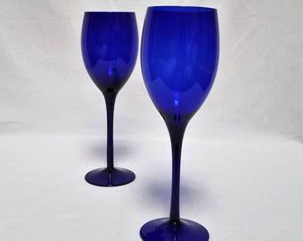 "Wine Glasses  10 fl. oz. Pair Cobalt Blue Stands 9 1/8"""