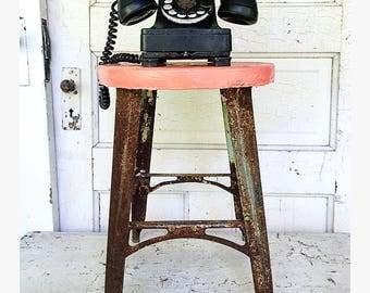 Vintage Metal Stool Orange Shabby & Metal stool | Etsy islam-shia.org