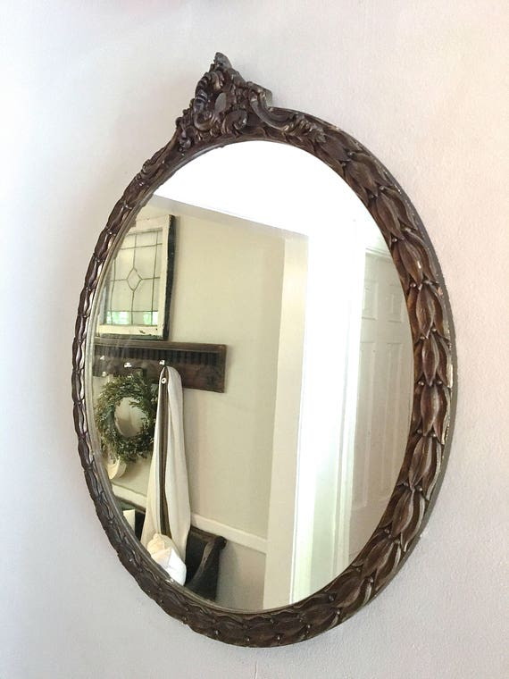 Vintage gold mirror round large ornate for Large round gold mirror