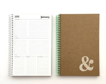 2018 Weekly & Monthly Planner | SMALL | 12 Months | Agenda