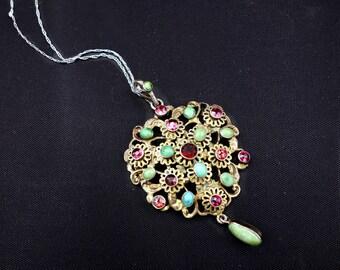 Austro Hungarian Turquoise, Garnet, Silver Pendant, Vintage Pendant,