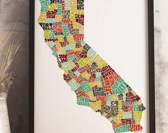 California map art print, available Framed or Unframed, California typography art, California art, California state map, California décor