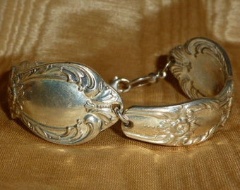 """Vintage Silverware, Silver Plate """"Upside Down"""" Spoon Bracelet, 7"""" - 7 1/2"""" Wrist"""