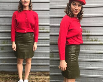 1970s olive green leather pencil skirt