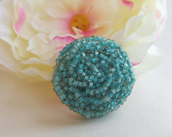 Funky Handmade Vintage Blue Beaded Cluster Brooch- Intertwined Woven Sky Ocean Pastel Seed Beads Gold Tone Pretty Retro