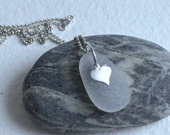 white frosted authentic Atlantic sea glass heart necklace, sea glass heart necklace, sea glass necklace, beach wedding, bridal necklace