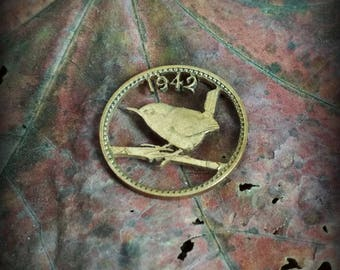 Wren 1942. Coin cut bronze necklace pendant charm.
